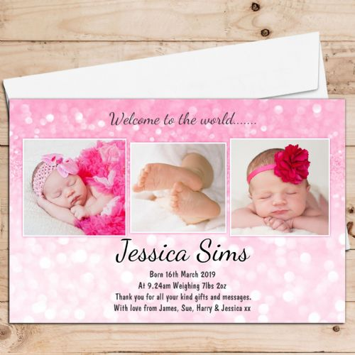 10 Personalised Baby Girl Birth Announcement Thank You Photo Cards N50